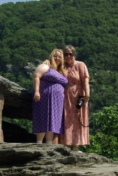 Dixie and cousin Janice on Jefferson Rock, Harper's Ferry